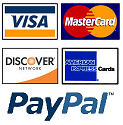 We accept major credit cards and Paypal - site secured by Geotrust SSL